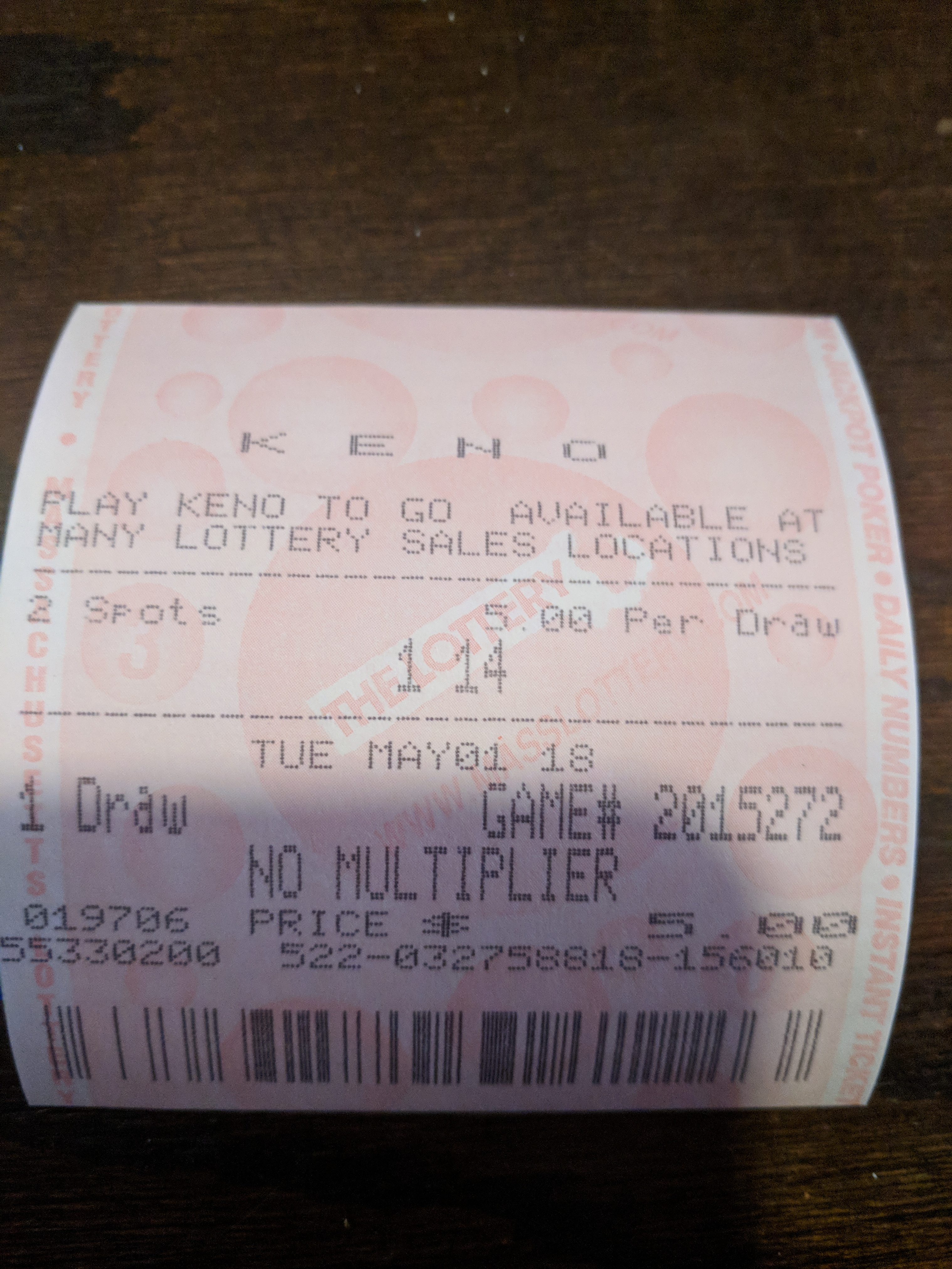 Keno Daily Winning Numbers Ma